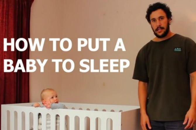 This hilarious dad shows us how he puts his baby to sleep