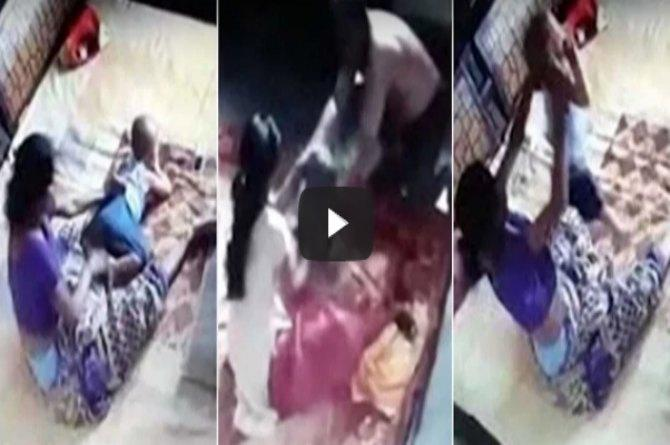 Shocking Bareilly Mother Caught On Camera Mercilessly Beating Her Own Son -1414