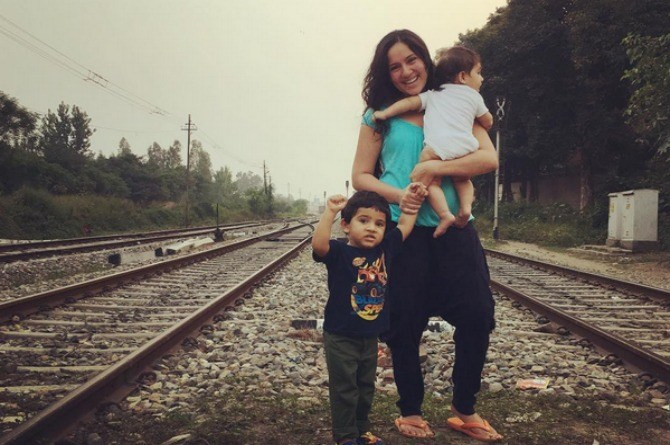 Adorable! New mum Kanchi Kaul and her boys make for the cutest trio