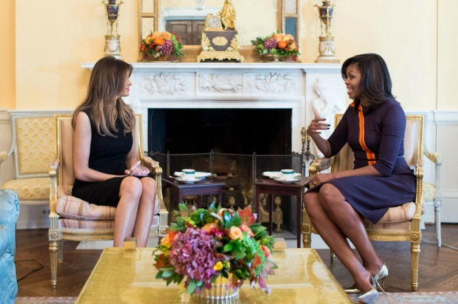Melania Trump and Michelle Obama meet for tea and discuss parenting tips
