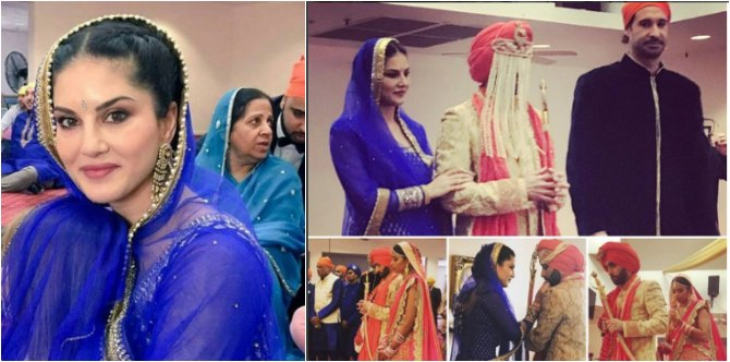 We can't get over these gorgeous pics from Sunny Leone's brother's traditional Sikh wedding!