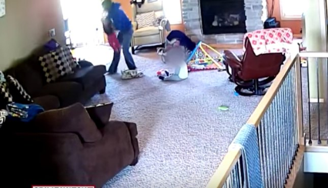 Brutal babysitter flings baby on the floor; gets caught on camera!
