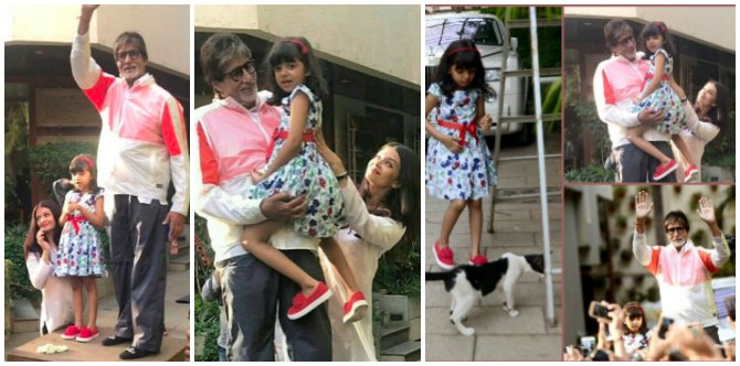 In pics: Aaradhya accompanies dadu Amitabh Bachchan for his customary Sunday greet with fans