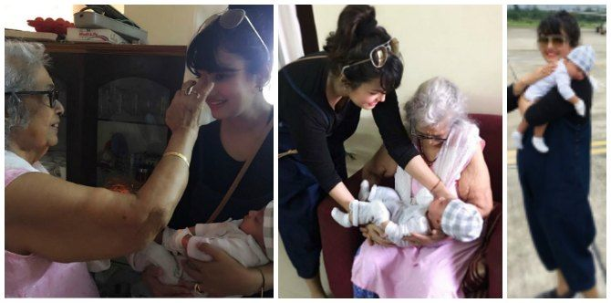 New mum Nisha Rawal follows tradition and takes newborn to meet THIS special lady