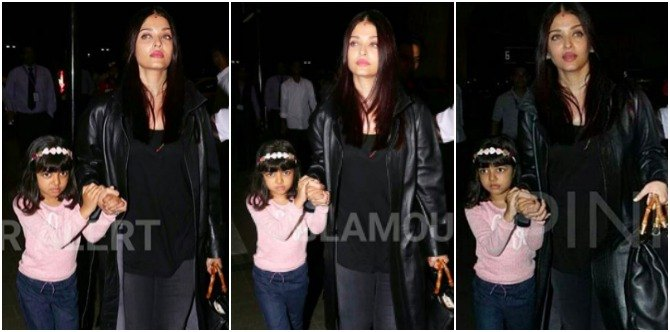 Protective mum Aishwarya comes to daughter Aaradhya's rescue at the airport