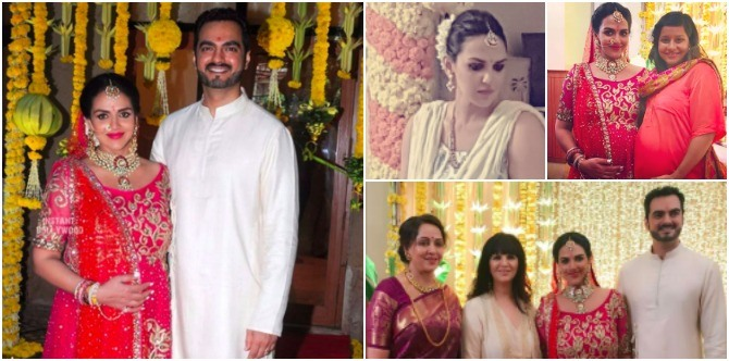 Wow! Esha Deol looks like a queen at her godh bharai and second marriage ceremony