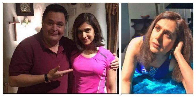 Meenakshi Sheshadri with actor Rishi Kapoor and how she looks right now.