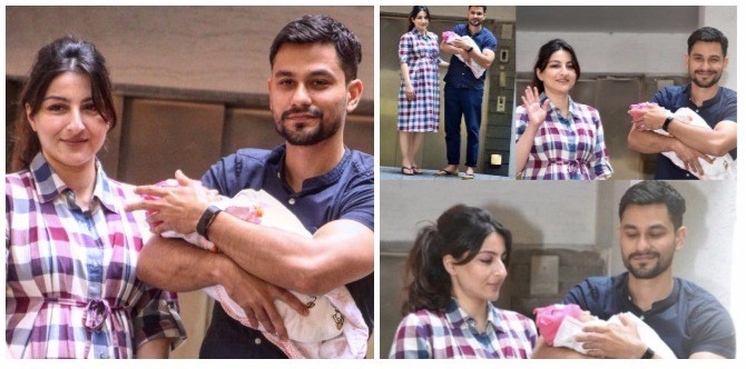 New parents Soha Ali Khan and Kunal Khemmu bring their little girl home