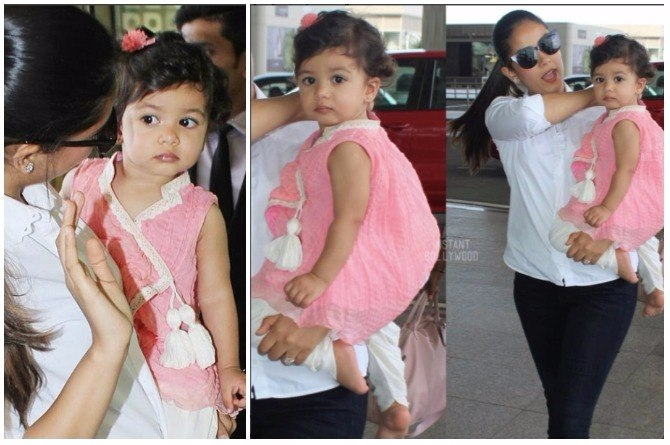 Misha is the cutest little desi girl as mum Mira Rajput takes her to Amritsar