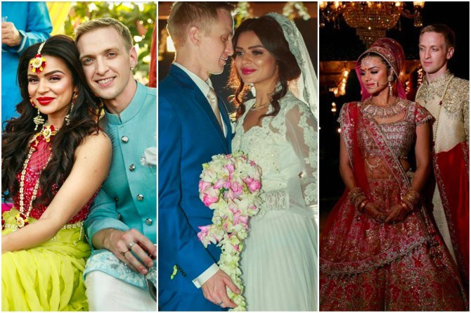 Pics: Actress Aashka Goradia gets married to American fiancé Brent Goble in a breathtaking ceremony in Ahmedabad!