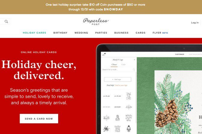 paperless Forgot to send X'mas cards out? No prob! Here are 5 best websites to get holiday cards online!