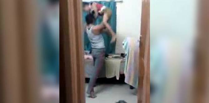 Father thrashes 10-year-old son for THIS reason and is captured on tape by mother