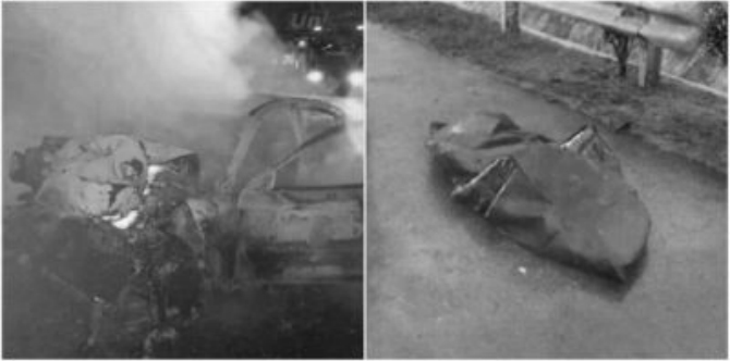 Helpless mum watches husband burn to death after car accident