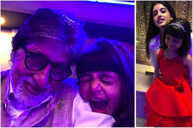Pics: Navya Naveli and Aaradhya ring in the New Year with grandfather Amitabh Bachchan!
