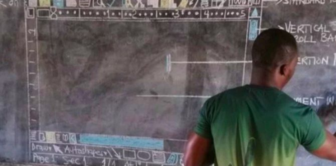 Ghana teacher draws Microsoft Word window for class, goes viral