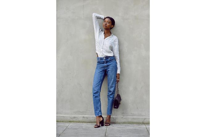 Subtle pinstripes and heels can turn 'mom jeans' into a casual chic piece