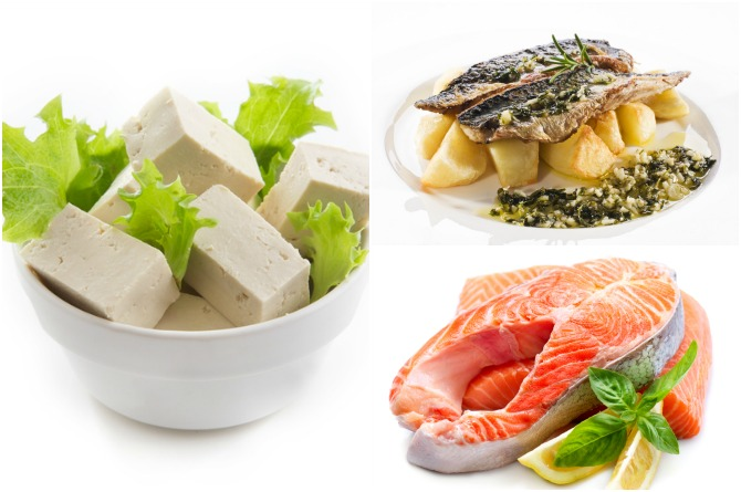Mackerel, salmon and tofu are rich in fatty acids, selenium and iron