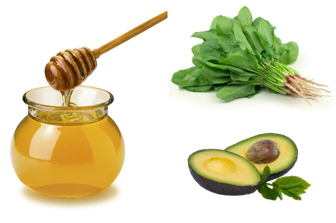 Honey, spinach and avacado are rich in minerals, folic acid and antioxidants