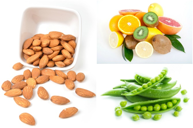 Almonds, citrus fruits and peas are high on Vitamin E, C and zinc