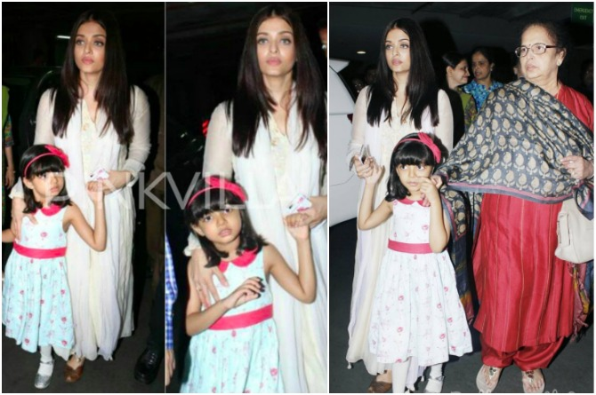 Aishwarya and Aaradhya return from the immersion puja