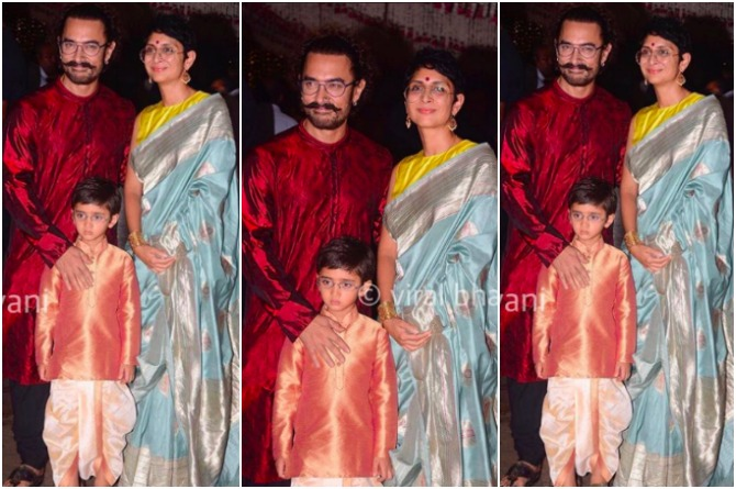 Aamir Khan with wife Kiran and son Azad attend Ganpati party