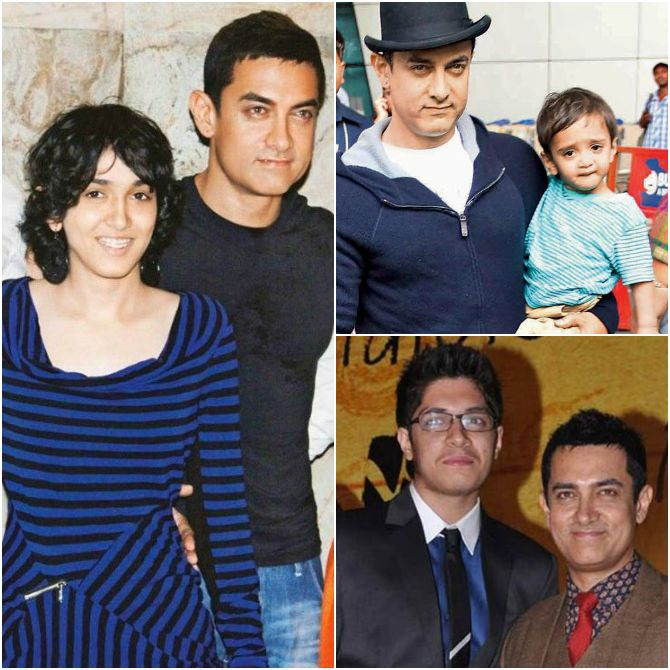 Aamir Khan with daughter Ira and sons Azad and Junaid