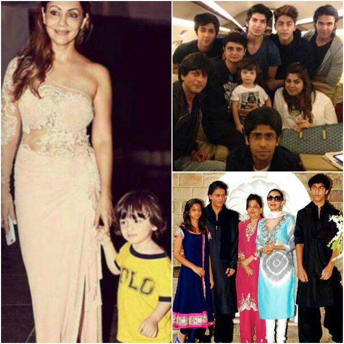 Shah Rukh Khan with his family and kids Aryan, Suhana and AbRam