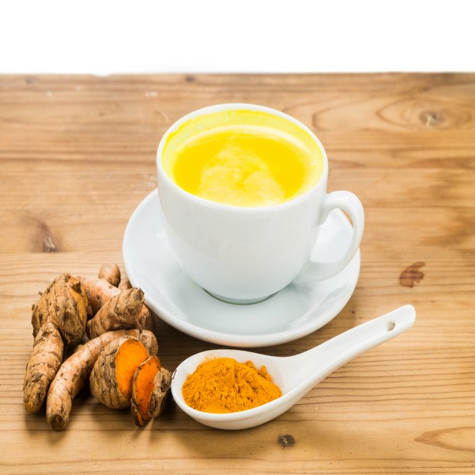 Warm milk with a pinch of turmeric