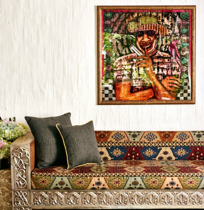 Expensive paintings adorn the walls