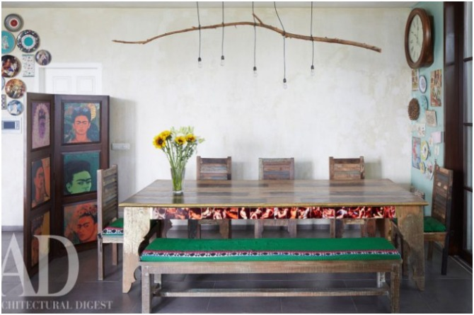 The eclectic dining space