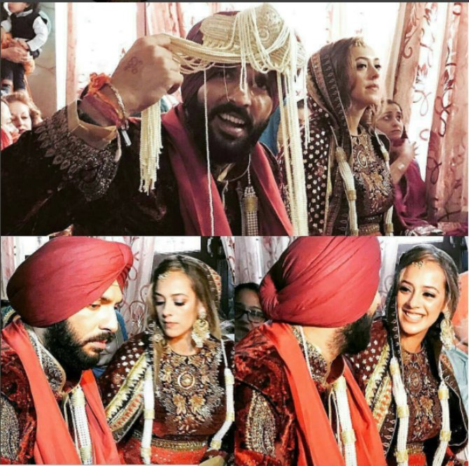 Hazel and Yuvraj decked up in matching traditional attire