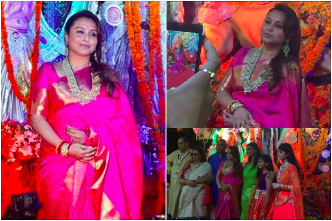 Rani poses with her entire family during Durga puja