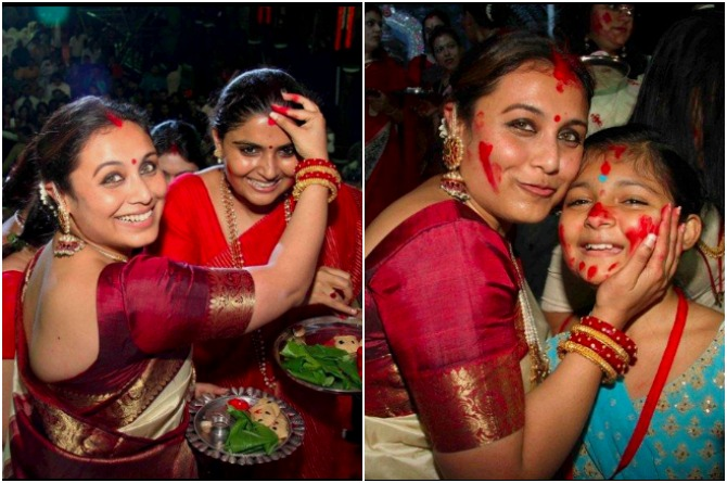 Rani plays Shindoor Khela with her family