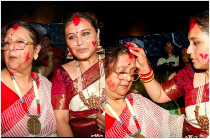 Rani plays Shindoor Khela with her mother