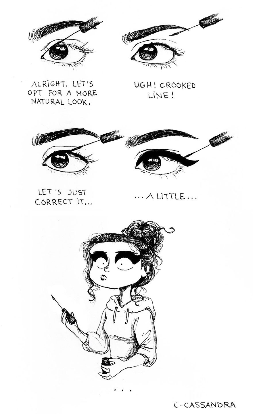 Applying a stroke of eyeliner